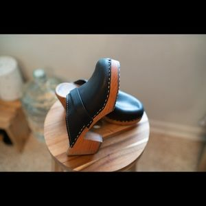 Authentic Swedish Black Leather Platform Clogs